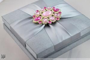 closed silk box invitation